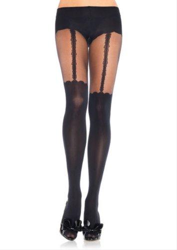 Leg Avenue Women's Spandex Opaque Garterbelt Look Pantyhose