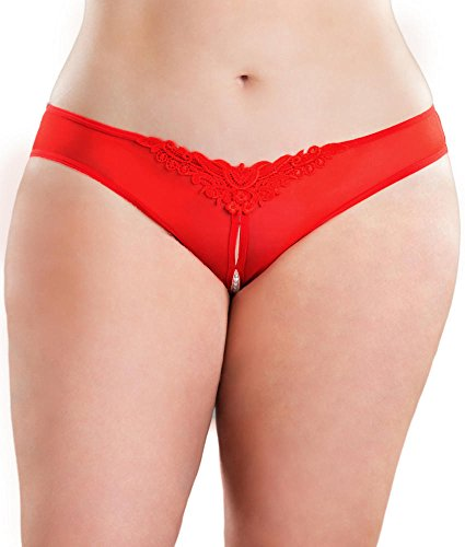 Crotchless Pearl Thong Plus Size