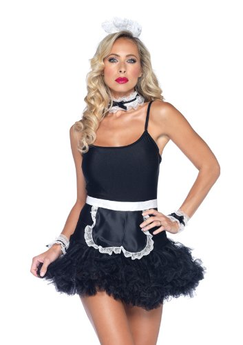 Leg Avenue 4 Piece French Maid Apron Neck Piece Wrist Cuffs And Headband Kit