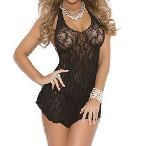 ANDI ROSE Women's Sexy Lace Lingerie Babydoll Underwear Sleepwear + G-string (Black)