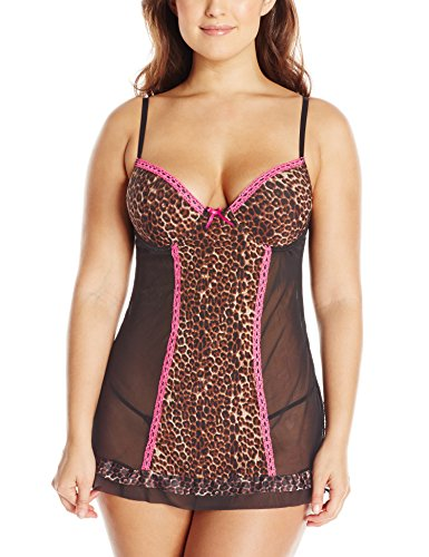 Just Sexy Women's Plus-Size Mesh Molded Cup Babydoll
