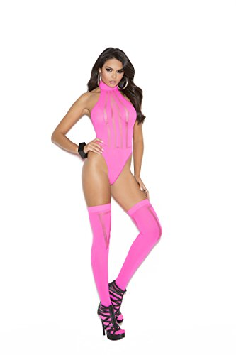 Elegant Moments Women's Halter Style Teddy with Stockings