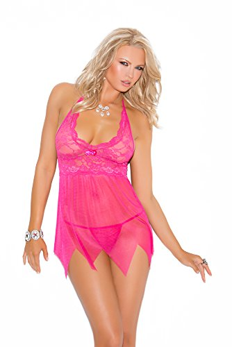 Elegant Moments Women's Babydoll Features Kerchief Hemline with G-String