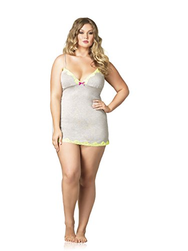 Leg Avenue Women's Plus-Size Seraphina By Jersey Nightie with Lace Trim