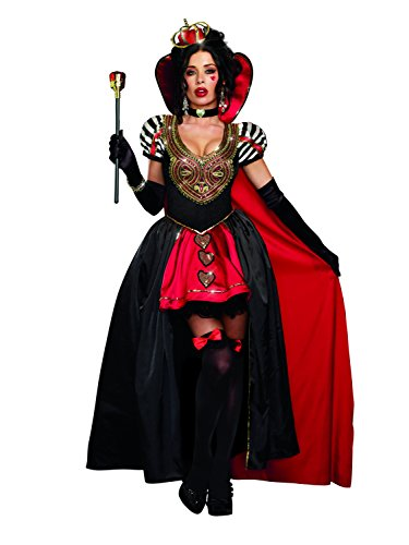 Dreamgirl Sexy Women's Royal, Whimsical Satin Gown Costume, Queen Of Hearts