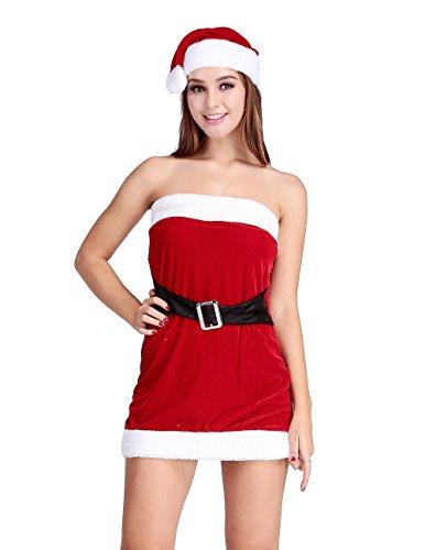Papaya Wear Mrs Santa Claus Costume Christmas Party Velvet Dress