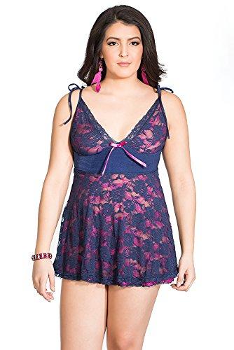 Coquette Women's Plus-Size Diva 2-Toned RVR Stretch Lace Babydoll G-String Set