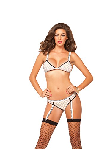 Seven Til Midnight Women's On The Ball Two Piece Fishnet Bra and Thong Set