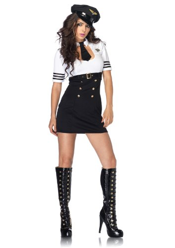 Leg Avenue Women's 2 Piece  Captain Keyhole Dress With Tie And Matching Hat