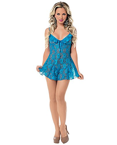 Escante Women's Lace Flutter Chemise and G-String