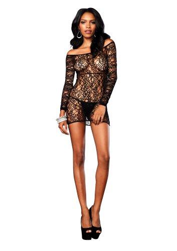 Leg Avenue Women's Web Net Long Sleeve Mini Dress
