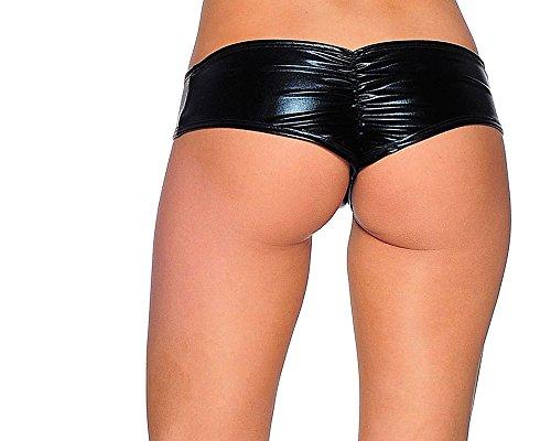 BodyZone Apparel Foil Scrunch Back Super Micro Shorts. Black. M/L. Made in USA.