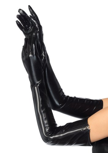 Leg Avenue Costumes Wet Look Opera Length Zipper Gloves