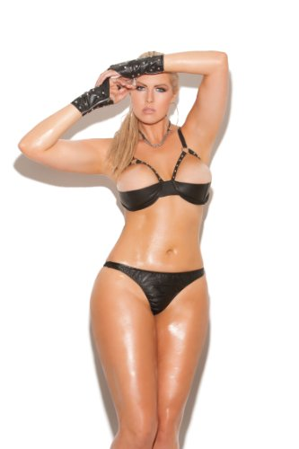 Sexy Leather Demi Bra – Black