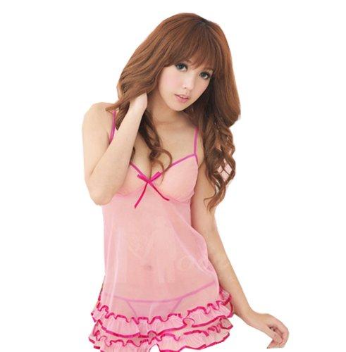 Amour-Women's Rose Cake Dress Babydoll Dress Sleepwear Lingerie Underwear Thong (XS, Pink Openback babydoll)