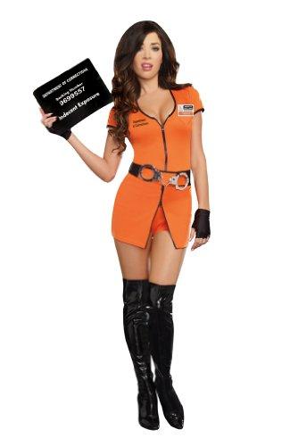 Dreamgirl Women's Sexy Convict Prisoner Costume, Locked Up