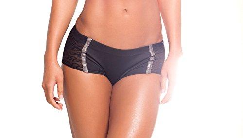 BodyZone Apparel Yoga & Fitness Bendy Diva Scrunch Back Short. Black/Silver. Small/Medium. Made in the USA.