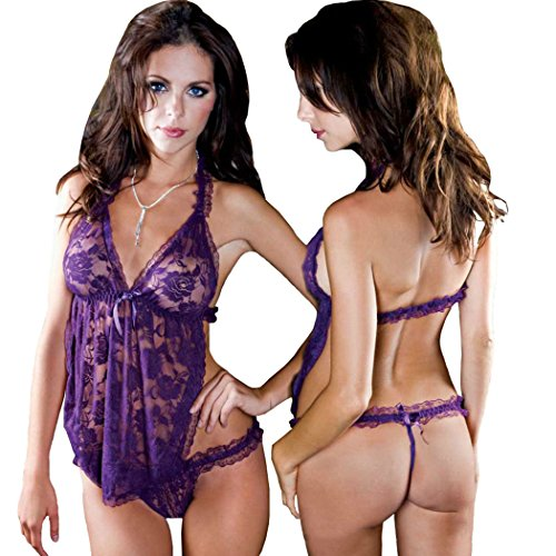 Wellsextoys Sexy Chemise Sleepwear Erotic Lingerie for Women Purple
