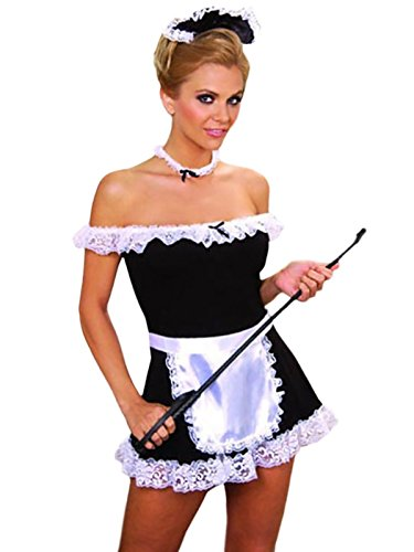 French Maid Costume SeXy 4 pieces Dress Apron Head & Neck Pieces-Black-M/L