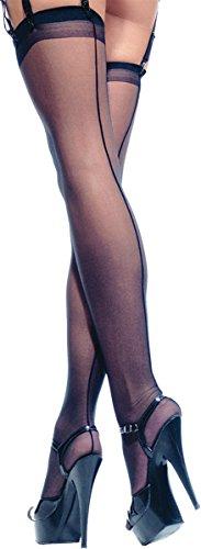 Leg Avenue Women's Sheer Back Seam Stocking Black
