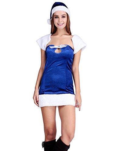 Papaya Wear Blue Elf Mrs Santa Claus Costume Christmas Party Velvet Dress