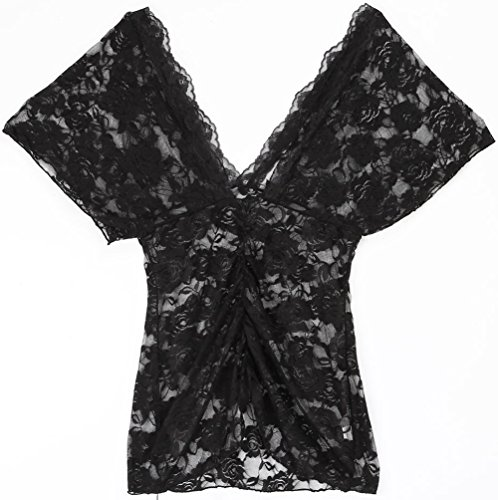 ANDI ROSE Women Tops Lingerie Sexy Floral Lace Dress Sleepwear with G-string Black