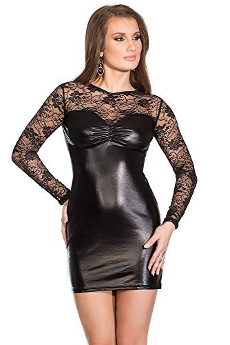 Coquette Women's Darque Wet Look and Lace Dress