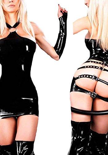 Roswear Women's Sexy Belt buckle Vinyl Lingerie Black One Size
