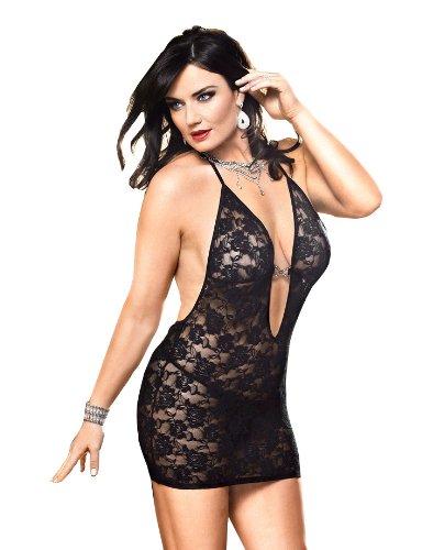 Baci Lingerie Women's Plus-Size Criminal Minds Deep-V Neck Halter Dress