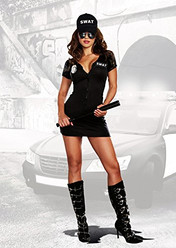 Sexy Tac Team SWAT Force Chief Officer Dress Outfit Police Costume Adult Women