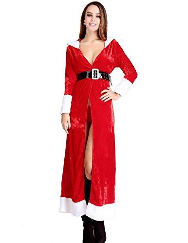 Papaya Wear Mrs Santa Claus Costume Christmas Cloak Party Dress