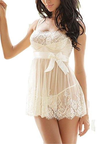 Ruzishun Women's Sexy Lace Lingerie Perspective Nightwear White, XXX-Large