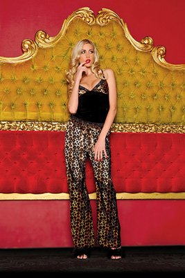 Valentine's Day Joan Leopard Cami And Pant Set (Black;Large)