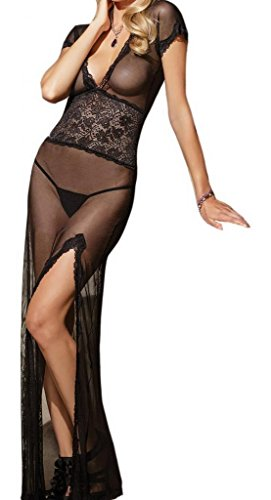 EOZY Mesh and Lace V Neck Sheer Lingerie Gown Long Dress With G-string (#2black)