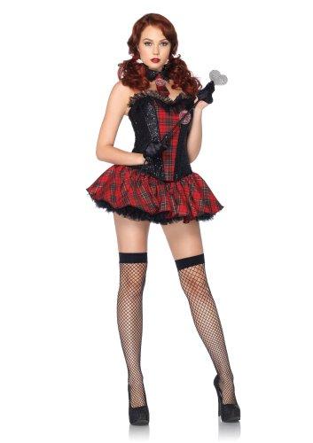 Leg Avenue Academy Cutie Corset with Crest Appliqué Skirt Tie Neck Piece