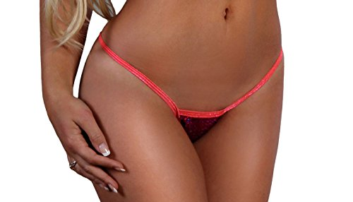 BodyZone Apparel Sexy Ruby Sequin Thong Panty. Fuchsia/Coral. One Size. Made in USA.