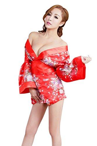 Amour-Women Lingerie Cosplay Kimono Night Dress+Thongs+Belt Sleepwear (M, MM579r)
