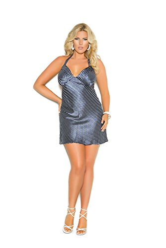 Elegant Moments Women's Plus-Size Queen Size Vanessa Charmeuse Neck Babydoll