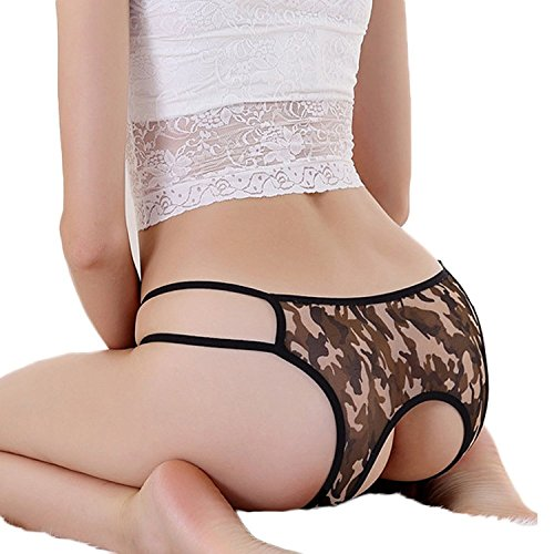 FUNOC® Women Black Crotchless Thongs G-string Lingerie Underwear
