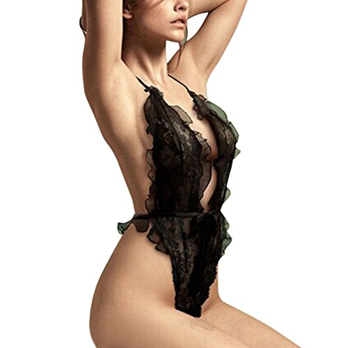 Fashion Story Women Black Lace One-piece Perspective Three-point Lingerie