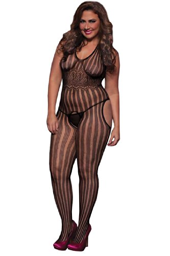 Seven Til Midnight Women's Plus-Size Halter Striped Suspender Body Stocking Plus