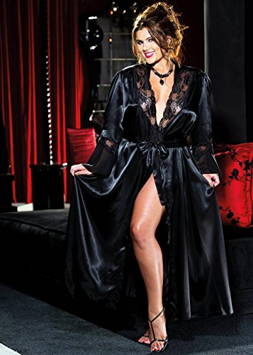 Elegant Sexy Charmeuse Long Robe Evening Gown Plus Size Lingerie Adult Women