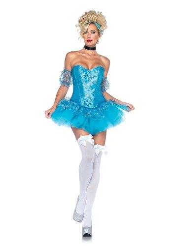 Leg Avenue 5 Piece Cinderella Sequin Corset Tutu Skirt With Arm Puffs Choker Headband