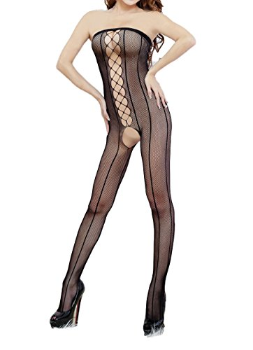 Amoretu Womens Sheer Strapless Crotchless Bodystocking Lingerie
