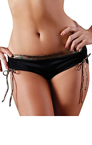 BodyZone Apparel Icon Scrunch Side Short. Black/Gold. Small/Medium. Made in the USA.