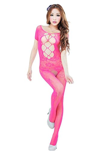 Amour- Valentine's Day Lingerie Sexy Lace Cut Out Strings Bodystocking Bodysuit (Hot Pink)