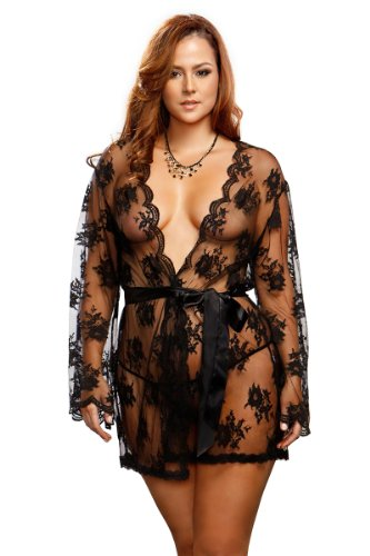 iCollection Women's Plus-Size Sheer Robe