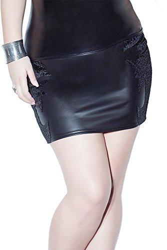 Coquette Women's Plus-Size Matte Wet Look and Embossed Velvet Skirt