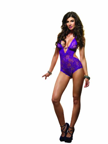 Leg Avenue Women's Stretch Lace Deep V Halter Teddy Faux Rhinestone Accent