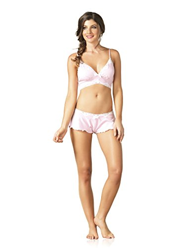 Leg Avenue Women's Seraphina By Jersey Lace Trim Bralette and Flutter Shorts